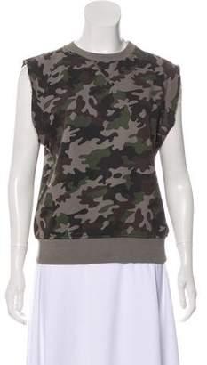 Saint Laurent Sleeveless Camouflage Sweatshirt