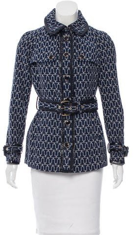 Tory Burch Tory Burch Leather-Trimmed Pattern Jacket
