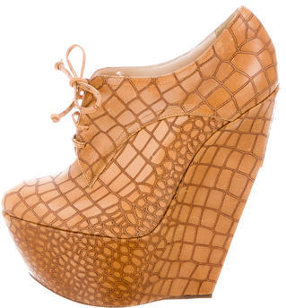 Casadei Embossed Leather Wedge Booties w/ Tags $155 thestylecure.com