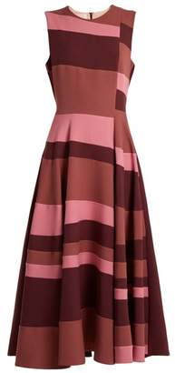 Roksanda - Tatum Sleeveless Colour Block Cady Dress - Womens - Burgundy Multi