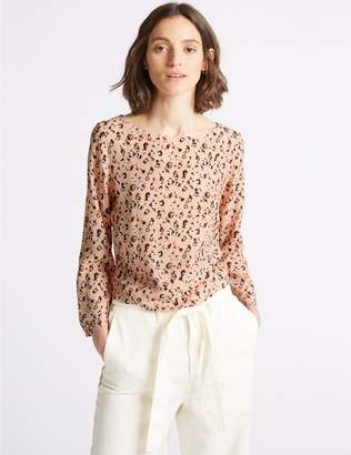Marks and Spencer Animal Print Pleat Back Long Sleeve Top