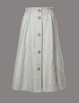 Marks and Spencer Linen Blend Textured A-Line Midi skirt