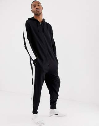 Asos DESIGN onesie in black & white cut & sew