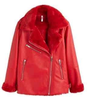 MANGO Faux fur biker jacket