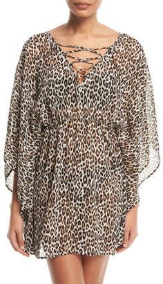 Tommy Bahama Cat Meow Lace-Front Open-Back Tunic Coverup