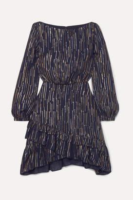 Saloni Felicia Ruffled Striped Silk And Lurex-blend Dress - Navy