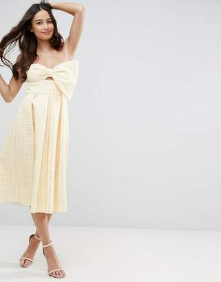 Asos DESIGN Scuba Gingham Bow Front Midi Prom Dress