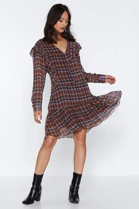 Nasty Gal High Check Ruffle Dress