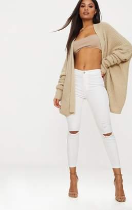 PrettyLittleThing White Distressed Knee 5 Pocket Skinny Jean