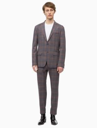 Calvin Klein fitted virgin wool stretch glen check suit