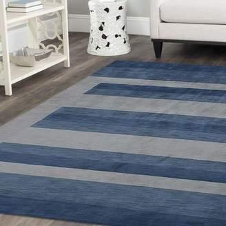 Latitude Run Ry Hand-Woven Wool Light Blue Area Rug Rug