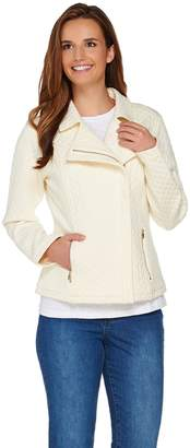 Isaac Mizrahi Live! Mixed Quilted Knit Motorcycle Jacket