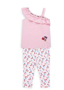 Betsey Johnson Little Girl's Ruffled Top And Capris Set