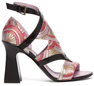 Fabrizio Viti - Block Heel Jacquard Sandals - Womens - Pink Multi