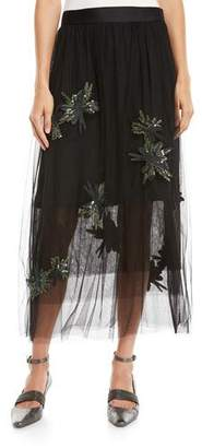 Brunello Cucinelli Tulle Midi Skirt w/ Paillette Embroidery