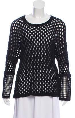 Yigal Azrouel Crochet Scoop Neck Sweater