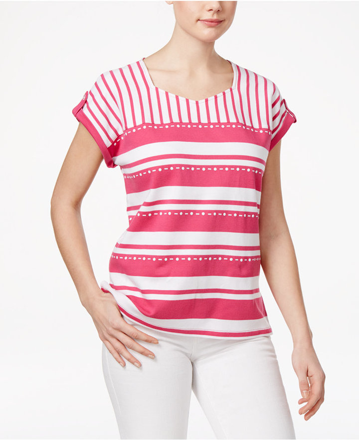 Alfred Dunner Alfred Dunner Petite Reel It In Striped Top