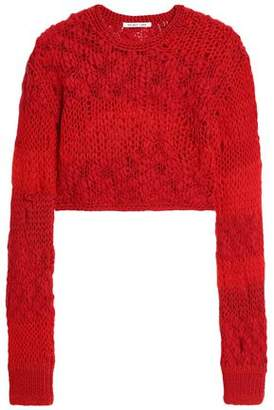 Helmut Lang Cropped Open-Knit Wool-Blend Sweater