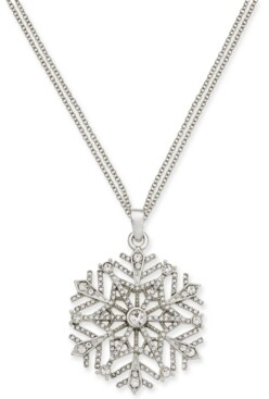 """Holiday Lane Silver-Tone Crystal Snowflake 36"""" Pendant Necklace, Created for Macy's"""