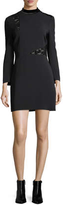 A.L.C. Alix Mock-Neck Long-Sleeve Crepe Mini Dress