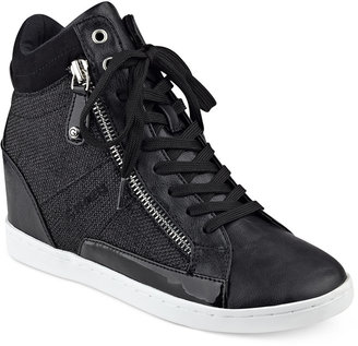 G by GUESS Damsel High-Top Wedge Sneakers $69 thestylecure.com