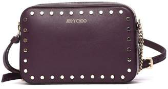 Jimmy Choo Quinn Cross Body Bag In Burgundy Leather And Studs