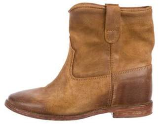 Isabel Marant Leather Round-Toe Mid-Calf Boots brown Leather Round-Toe Mid-Calf Boots