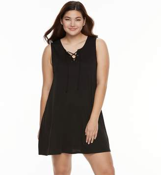 Juniors' Plus Size About A Girl Lace-Up Swing Dress