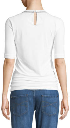 Brunello Cucinelli Crewneck Cotton Jersey Tee w/ Monili Trim