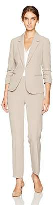 Tahari by Arthur S. Levine Women's Stretch Crepe Pant Suit with Ruched Sleeves
