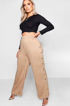 boohoo Plus Wide Leg Popper Detail Joggers