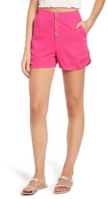 Moon River Button Front Linen & Cotton Shorts