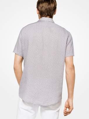Michael Kors Tailored/Classic-Fit Geometric Linen Shirt