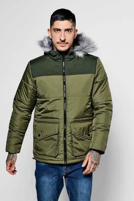 boohoo Khaki Short Quilted Jacket