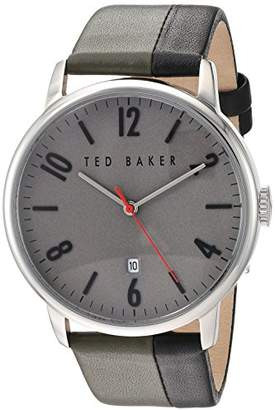Ted Baker Men's 'Modern Visual' Quartz Stainless Steel and Leather Dress Watch