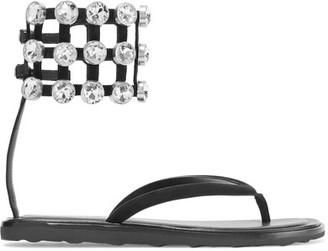 Alexander Wang - Aubrey Crystal-embellished Suede Sandals - Black $525 thestylecure.com