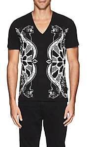 Just Cavalli MEN'S LEOPARD-PRINT COTTON T-SHIRT-BLACK SIZE M