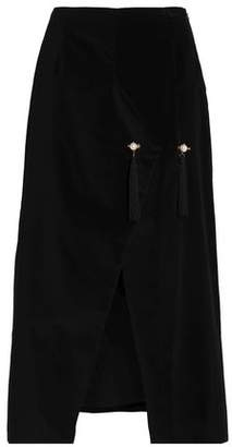 Mother of Pearl Tasseled Cotton-Velvet Wrap Midi Skirt