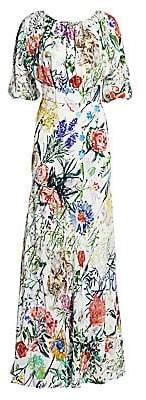 Lela Rose Women's Wild Flower Georgette A-Line Maxi Dress