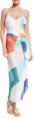 Mara Hoffman Colorblock Viscose Sarong, White $100 thestylecure.com