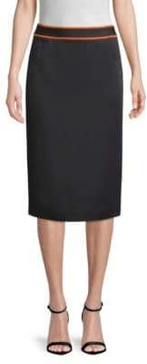 BOSS Vartona Satin Face Colorblock Pencil Skirt