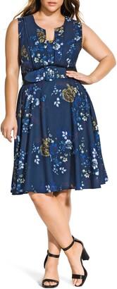 City Chic Himari Floral Fit & Flare Dress