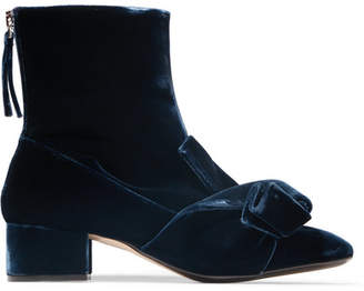No.21 No. 21 - Knotted Velvet Ankle Boots - Navy