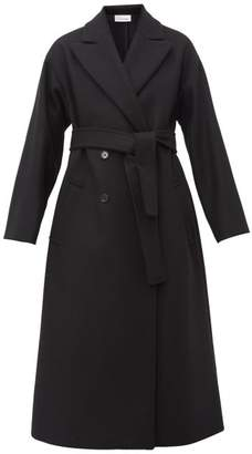 RED Valentino Belted Double Breasted Wool Blend Coat - Womens - Black