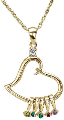 JCPenney FINE JEWELRY Personalized 14K Gold Over Silver Heart Dangle Pendant Necklace