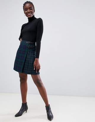 Warehouse mini skirt in plaid check
