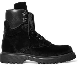 Moncler Patty Leather-trimmed Velvet Ankle Boots - Black