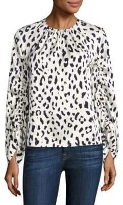 Tibi Cheetah Printed Silk Top