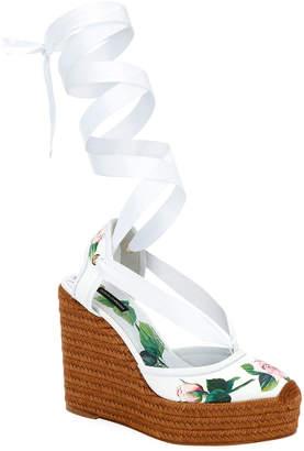 Dolce & Gabbana Floral Wrap Wedge Espadrilles