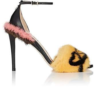 Fendi Women's Fur-Trimmed Leather Sandals - Black